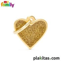 Corazón Dorado Purpurina S