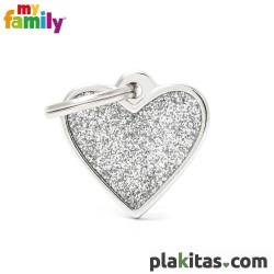 Corazón Plateado Purpurina S