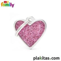 Corazón Rosa Purpurina S