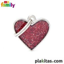 Corazón Rojo Purpurina S